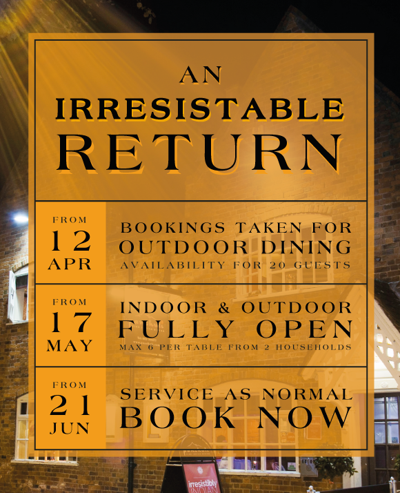 Opening Soon: Dine Outdoors from 12th April; Indoor and Outdoor from 17th May; Back to normal from 21st June.